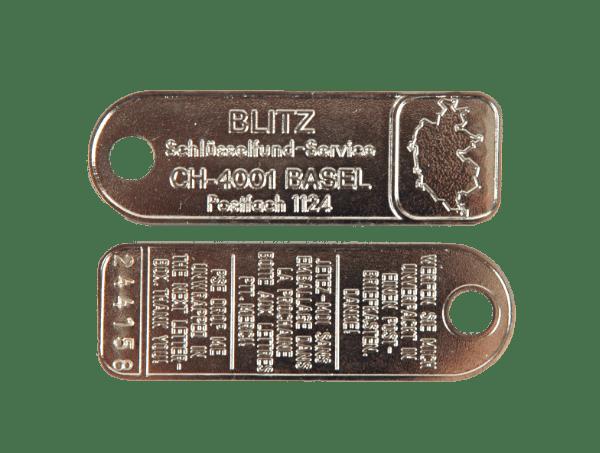 BLITZ Sicherheits-Schlüsselfundplakette